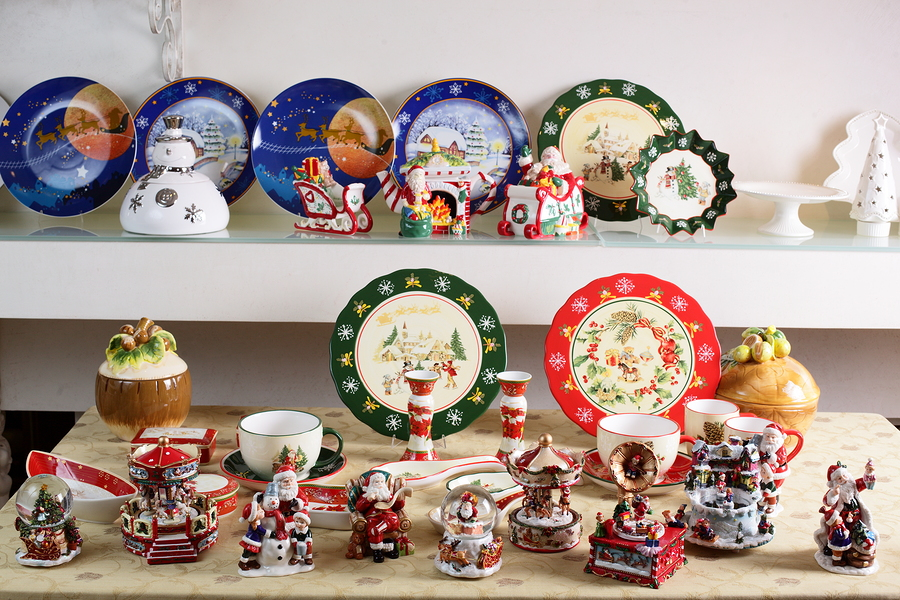 Shelf with different brand new hollyday dishes